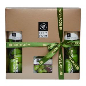 Купить Подарочный набор косметики Bodyfarm (Бодифарм) с оливковым маслом (гель для душа 250мл + молочко для тела 250мл + крем для рук 200гр)