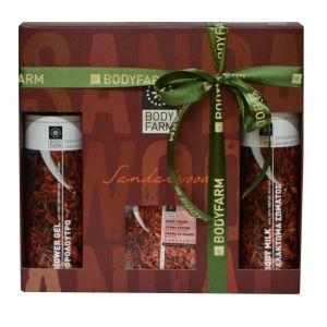 Купить Подарочный набор косметики Bodyfarm (Бодифарм) сандаловое дерево (гель для душа 250 мл + молочко для тела 250 мл + крем для рук 200 г)