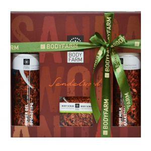 Купить Подарочный набор косметики Bodyfarm (Бодифарм) сандаловое дерево (гель для душа 250мл+молочко для тела 250мл+скраб 200мл)