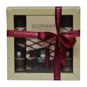 Купить Мини набор косметики Bodyfarm (Бодифарм) темный шоколад (гель для душа 50 мл+молочко для тела 50 мл+мыло 110 г)