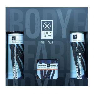 Купить Подарочный набор косметики Bodyfarm (Бодифарм) ваниль-молоко (гель для душа 250мл+молочко для тела 250мл+крем-масло 200мл)