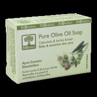 Натуральное мыло BIOselect (БиоСелект) с оливковым маслом,календулой и маслом каритэ / soap ORGANIC FOR BABY & SENSITIVE SKIN CARE 80 мл