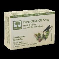 Натуральное мыло BIOselect (БиоСелект) с оливковым маслом, миррой и мёдом / soap ORGANIC FOR ANTIAGE CARE FOR FACE & BODY 80 мл