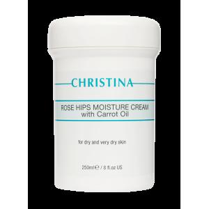 Увлажняющий крем с маслом моркови для сухой и очень сухой кожи «Шиповник» Rose Hips Moisture Cream with Carrot Oil for dry and very dry skin Christina (Кристина), 250 мл