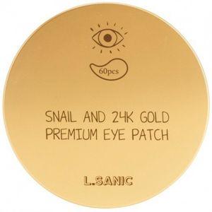Гидрогелевые патчи для глаз с муцином улитки и золотом L SANIC snail and 24k gold premium eye Patch 60 шт