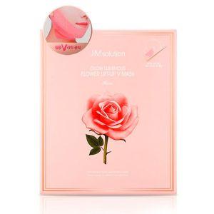 Лифтинг-маска для шеи и подбородка с розовой водой и цветочными экстрактами JM Solution Glow Luminous Flower Lift-up V Mask Rose 25 г