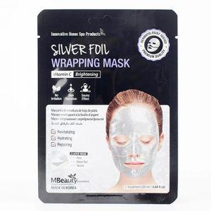 Восстанавливающая серебряная фольгированная маска для лица с витамином С MBeauty Silver Foil Wrapping Mask 25 г