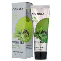 Балансирующая кремовая пенка для умывания с экстрактом зеленого чая Consly Green Tea Balancing Creamy Cleansing Foam 100 мл