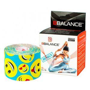Кинезио тейп для тела из хлопка c дизайном BBalance Kinesio tape Smile L-blue 1 рулон (5см*5м)