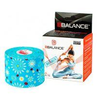 Кинезио тейп для тела из хлопка c дизайном BBalance Kinesio tape Flower L-Blue 1 рулон (5см*5м)