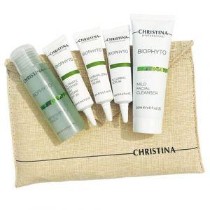 Дорожный набор для чувствительной кожи, 5 средств в косметичке Christina Bio Phyto On-The-Go Travel kit 3х15мл, 40мл, 50мл