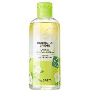 Двухфазная очищающая вода с зеленым чаем The Saem Healing Tea Garden Green Tea Oil In Cleansing water 300мл