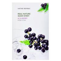 Тканевая маска с экстрактом ягод асаи. Nature Republic Real Nature Mask Sheet Acai Berry 23 г