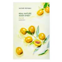 Маска для лица с экстрактом оливы Nature Republic real nature mask sheet - olive 23г