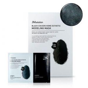 Альгинатная маска c древесным углем и шелкопрядом JM Solution Black Cocoon Home Esthetic Modeling Mask 50 г+5 г